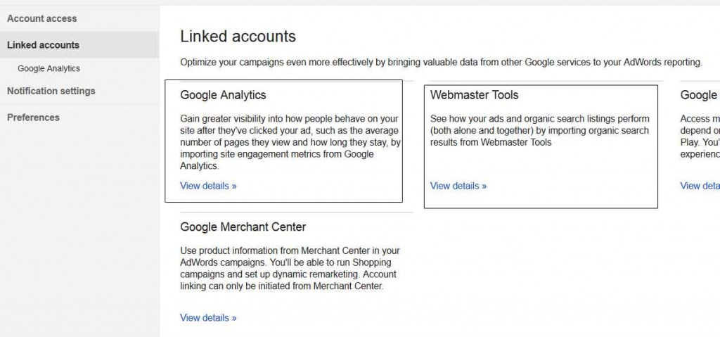 lingking adwords, analytics and search console accounts - paid and organic search integrated strategy