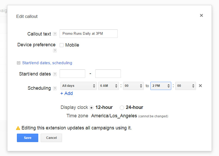 ad extension scheduling