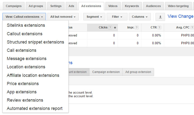 using Adwords ad extensions